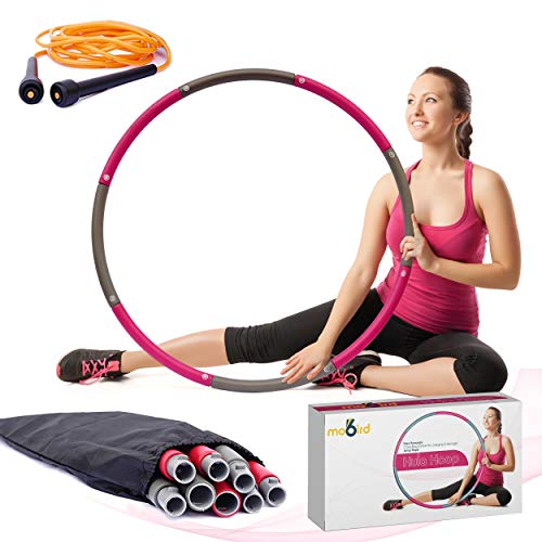 of professional hula hoops Weighted Hoola Hoop for Adults – 2lb Weighted Hula Hoop for Exercise - 8 Sections with Carry Bag for Easy Storage – Foam Padded Hula Hoop for Adults Weight Loss
