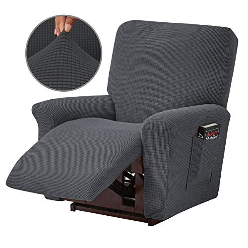 Topchances - Funda reclinable para sillón reclinable de 4 piezas, con bolsillo lateral inferior para sala de estar, dormitorio (gris oscuro)