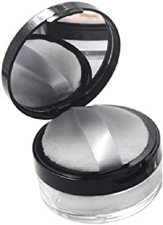 1Pcs Empty Portable Elastic Mesh Powder Box Round Makeup Loose Powder Container Case with Black Lid Mirror and Sponge Powder Puff Sifter Compct Powder Foundation Bottle