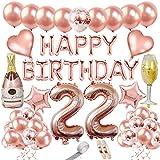 22 Años Cumpleaños Decoracion Oro Rosa Globos de Cumpleaños Feliz Fiesta Pancarta Confeti Latex Globos Corazón Estrella de Globos Helio Gigantes Numeros 40in 22 Cumpleaños Kit para Mujeres