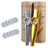 2 Pcs Kazoo Exquisite Metal Mouth Kazoo with 10 Membrane Flute Music Instrument Toy for Kids
