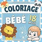 Coloriage Bebe 18 mois: Livre d'activité coloriage idéal pour les enfants et bébés de 18 mois - 52 animaux à colorier avec dessins simples et bords épais ! - Pour filles & garçons