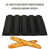 LLLKKK 12-Pulgadas Molde Antiadherente Baguette Wave 5 Rejillas de Silicona Transpirable Pan francés Molde Perforado...