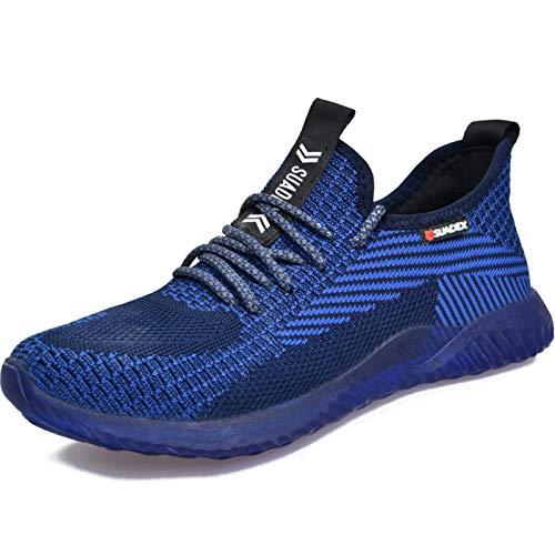 SUADEEX Arbeitsschuhe Herren Sicherheitsschuhe Damen Leicht Schutzschuhe mit Stahlkappe Schuhe Anti-Smashing Anti-Piercing Atmungsaktiv Sportlich Sneaker 43EU Blau
