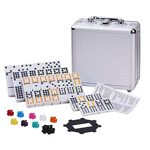 Dominoes Set Double 12 Mexican Train Dominoes 91 Tiles Dominoes Set with Travel Aluminum Case Gift for Kids and Families (Style 1)