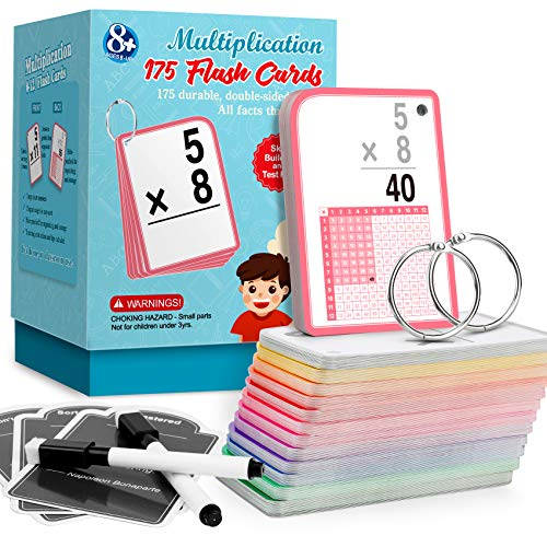 Multiplication Flash Cards for 3rd Grade – 175 Math Flash Cards – Times Table Flash Cards – All Facts 0-12 Color Coded– Multiplication Games, 1st 2nd 4th 5th 6th Grade
