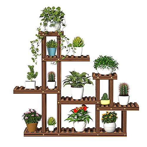 Wooden Plant Stands for Indoor Plants – Plant Stand for Outdoor Multiple Plants - Pine Wood Flower Rack – Living Room Flower Shelf with Sturdy and Durable Design – Up to 13 Plant Pots Without Wheels