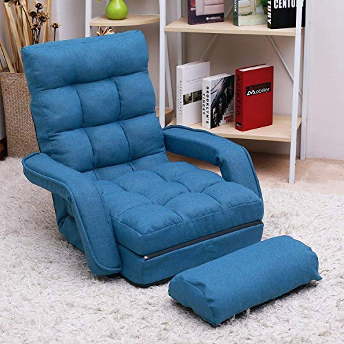 Adjustable Fabric Lazy Floor Sofa Chair Folding Chaise Lounge Single Couch Upholstered 5 Position Back Living Room Chairs Video Gaming Chair (Blue) blue chair gaming