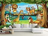 Murales De Pared 3d Hermoso Dibujo Animado Bosque Animal Mundo Foto Papel Tapiz Para La Habitación De Los Niños Papier Peint Enfant Frescos Ecológicos Ancho 280 cm * Altura 180 cm A