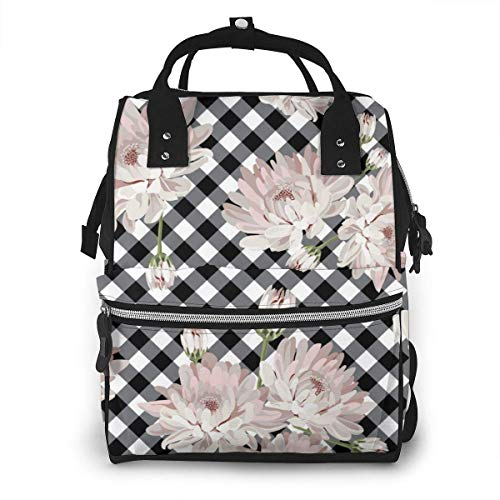 UUwant Sac à Dos à Couches pour Maman Floral Chrysantemums on Black Mums Diaper Bags Large Capacity Diaper Backpack Travel Nappy Bags Mummy Backpackling