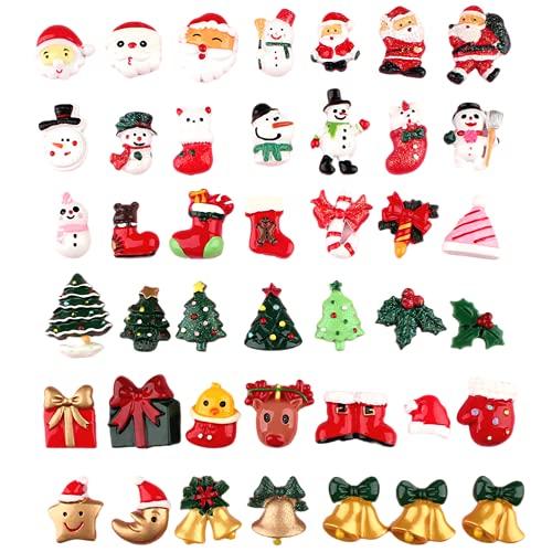 Set di 50 decorazioni natalizie in resina con pupazzo di neve e albero di Natale per decorazioni fai da te