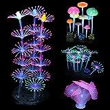Mangsen Paquete de 4 decoraciones brillantes para acuarios, arrecifes de coral brillante, hongo anémona, simulación de plantas de coral, efecto brillante, silicona para decoraciones de peces.