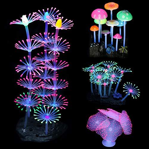 Mangsen 4 Stück Aquarium Pflanzen Künstlich, leuchtende Aquarium-Pflanzen einschließlich Silikon Seeanemone Korallen und Pilz Aquarium Wasserpflanzen Dekorationen für Fisch Tank Aquarium Landschaft