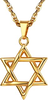 Jewish Magen Star of David Necklace Stainless Steel Pendant & Chain Israel Jewelry for Men Women Gift