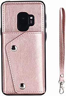 Samsung Galaxy S9 Case, Wallet Case with Card Slot Holder Handbag Purse Wrist Strap Premium Leather Kickstand Shockproof P...