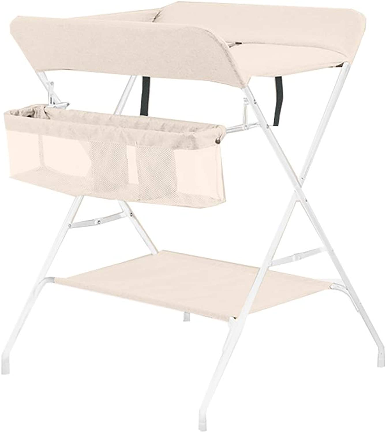 Folding Diaper Station Massage Station for Narrow Space, Portable Baby Changing Table, Dresser with Storage for Infant (color   Catkins White)