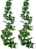 COSANSYS 2 Stück Efeugirlande Künstlich Hängende Rebe 2.5M, 56 stücke der blätter Efeu Efeuranke Kunstblumen für Hochzeit Party Garten Festival Dekorationen Wanddekoration