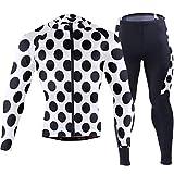 White Black Polka Dot Men's Cycling Jersey Long Sleeve Full Zip Bike Clothing Set Quick-Dry Padded Bicycle Pants