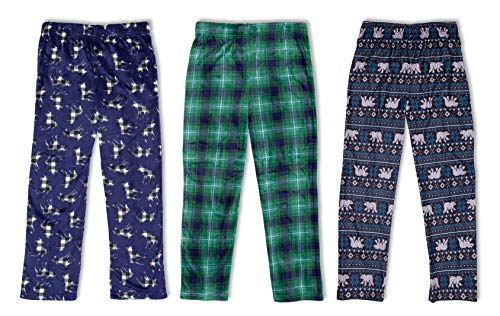 Men/'s Fleece Pajamas FOOTBALL Theme Green Flannel PJ Bottoms WITH POCKETS Choose