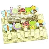 Clest F&H - Lindos Clips de Madera para Fotos, 10 Piezas / Juego de Pinzas para la Ropa, Insectos Multicolores, con Hilo de Yute de 2 Metros para decoración de Papel de Manualidades