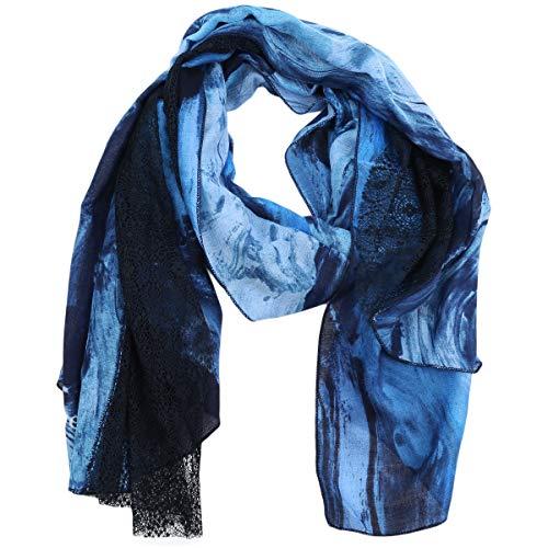 Desigual Damen Halstuch Pashmina Tuch Schal Rep Foul Lagoon 20SAWAX1, Farbe:Blau