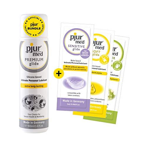 pjur med PREMIUM glide - Vorteilspack inkl. 3 x Gleitgelproben - Medizinisches Gleitgel auf Silikonbasis für hochsensible Haut (100ml)