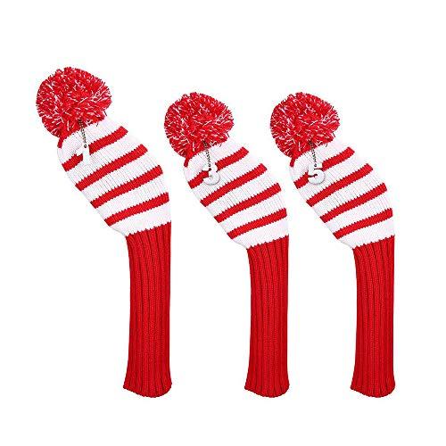 3 Stück Golfschlägerhauben Kopfbedeckung Golf Head Cover - Vintage Weihnachten Pom Pom Socke Golfschläger-Holzkopfabdeckungen Fit für Driver Wood, Fairway Holz und Hybrid (Rot)