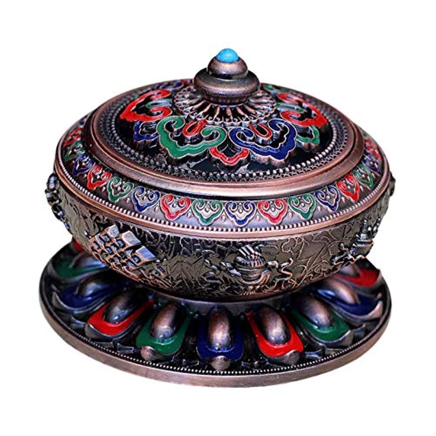 聖なる可能性仲人香炉 アンティーク 仏教 コーン 香りバーナー 丸香炉 癒しグッズ 琺瑯工芸 全3色 - 赤