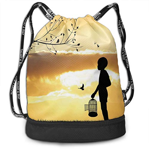DPASIi Drawstring Backpacks Daypack Bags,Little Child Silhouette with A Bird Cage at Sunset In Forest Rural Trees Birds,Adjustable String Closure