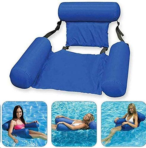 Semriver Water Hammock,Swimming Pool Beach Floating Recliner Inflatable Water Hammock Floating Bed Lounge Chair Drifter Swimming Pool Beach Float for Adult (Cool Blue)