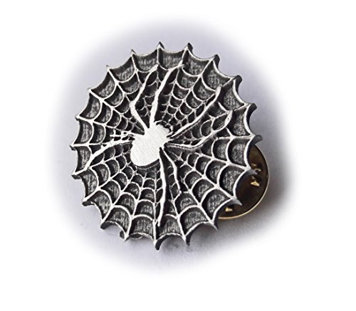 Spider und Web Badge Anstecknadel Brosche Metall Revers Free UK Post English Pewter