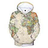INSTO Suéter Mundo Mapa Impreso Camisa de Entrenamiento Casual Suelto Capucha Unisexo Tendencia Ocio / A2 / 4XL