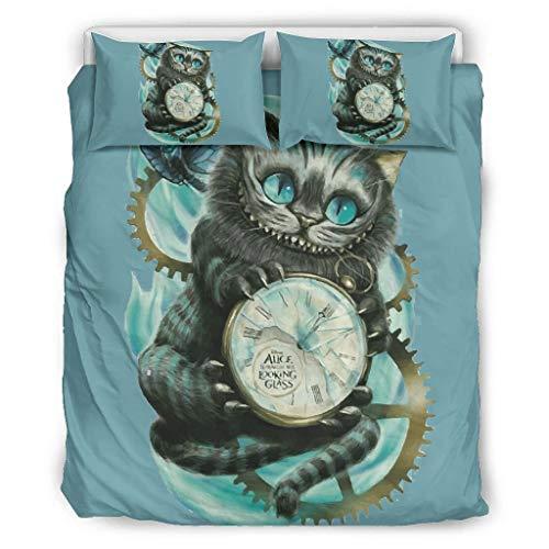 VVEDesign Quilt Set Full/Queen Soft All-Season Cartoon Cat Bedding 3-Piece for All Season White 66x90 inch