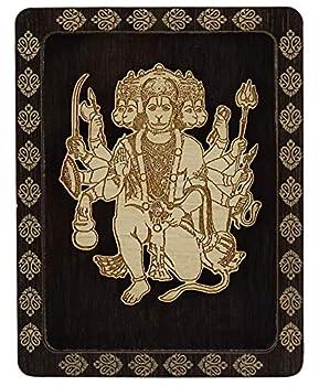 Indianbeautifulart Lord Panchmukhi Hanuman Double Sided Tape Decorative Wooden Frame Car Dashboard