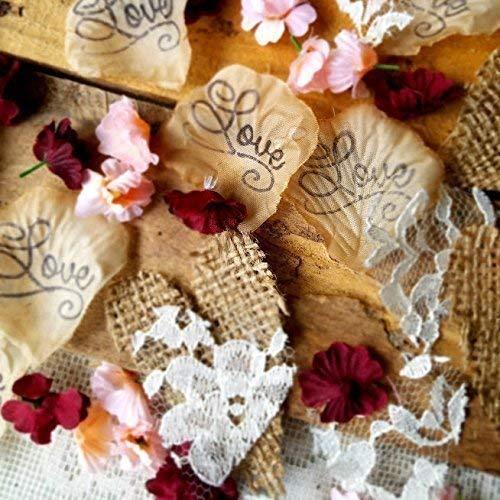 Rustic Wedding Decorations, Rose Petals, Rustic Bridal Shower Decorations, Burlap And Lace Heart Confetti, Wedding Table Decor