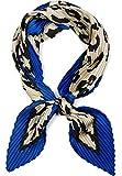 styleBREAKER Pañuelo plisado para mujer con estampado de leopardo y borde de contraste, pañuelo para el cuello, pañuelo para la cabeza 01016209 azul Talla única