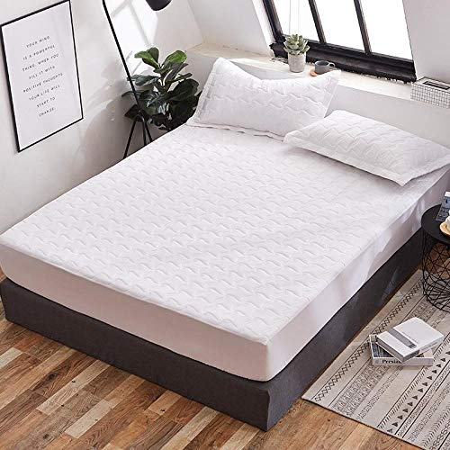 Bed Sheet Fitted Sheets Mattress Home Textile Supplies Grinding Clip Cotton Bed Cover Printed Bed Cover Mattress Protective Cover Waterproof Single Bed Single Piece-Pure White_A Pair Of Matching Pil