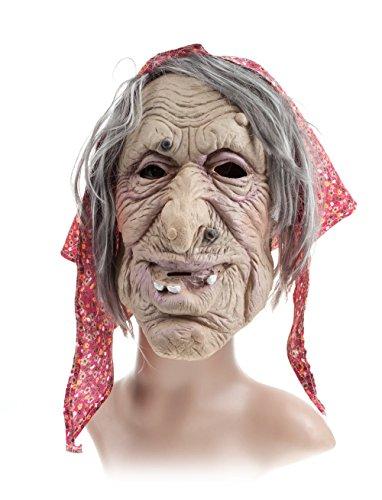 Walburgis Hexen Maske, Hexe mit Kopftuch und Haaren
