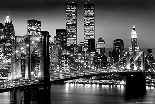 New York Poster Lights World Trade Center/ Brooklyn Bridge