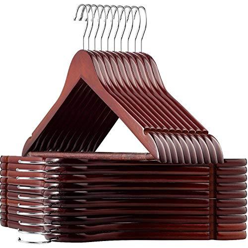 ZOBER Hochwertige Lotus Holzbügel - 20 Stück - Schwerlast Holz Kleiderbügel mit Glatter Oberfläche, 360 Grad drehbarem Haken, Hosensteg, für Mäntel, Jacken, Hosen und Kleider