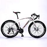CHHD Manillar de Bicicleta de montaña con amortiguación de 26 Pulgadas, Velocidad Variable, Frenos de Disco Dobles de Acero al Carbono para Bicicleta de montaña Urbana, 21 velocidades