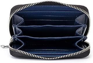 Men's Wallet Carbon Fiber Short Zip Coin Purse Fashion Trend is Suitable for Travel Shopping (Color : Blue, Size : S)