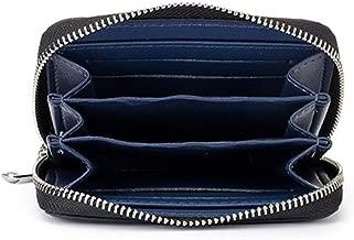 DUDUO-Bag La Tendencia de la Moda del Monedero de la Cremallera Corta de la Fibra de Carbono de la Cartera de los Hombres es Conveniente for Las Compras del Viaje (Color : Blue, Size : S)