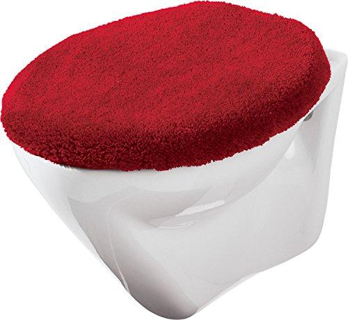 Erwin Müller WC-Deckelbezug mit Schnürung rot Größe 47x50 cm - weich und flauschig, trocknergeeignet (weitere Farben)