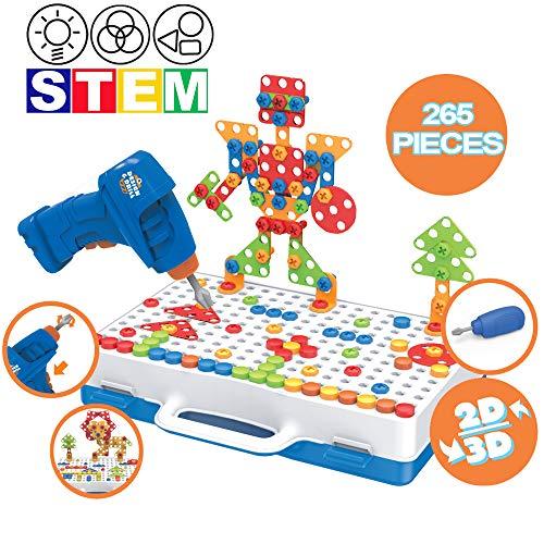 deAO 265 Delige Boor DIY-Puzzelspeelgoed Voor Kinderen met Elektrische Boorschroevendraaier STEM Bouwset voor 2D- en 3D-Modellen met Opbergdoos - Educatief Plezier voor Kinderen