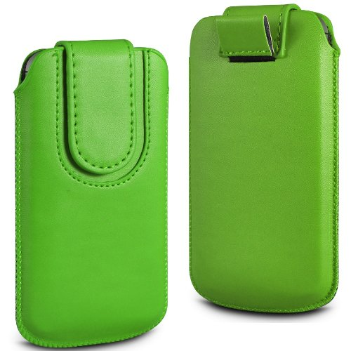 N4U Online Grün Premium-PU-Leder Pull Tab Flip Tasche für Huawei Ascend P1 mit magnetischem Verschluss Strap