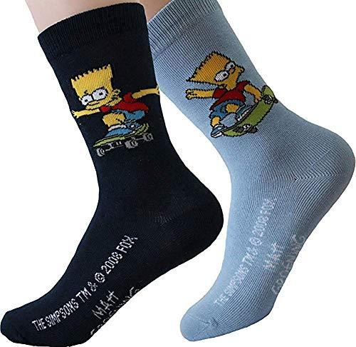 United Labels Kinder Socken Bart Simpson 2er Pack Hellblau Marine 27-30