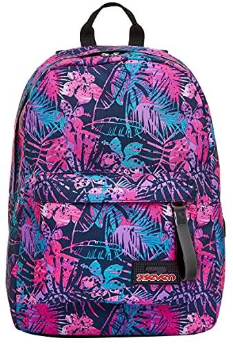 Seven Ischoolpack, Tropical Fleur, Blu, con Power Bank integrato, Scuola e Tempo Libero