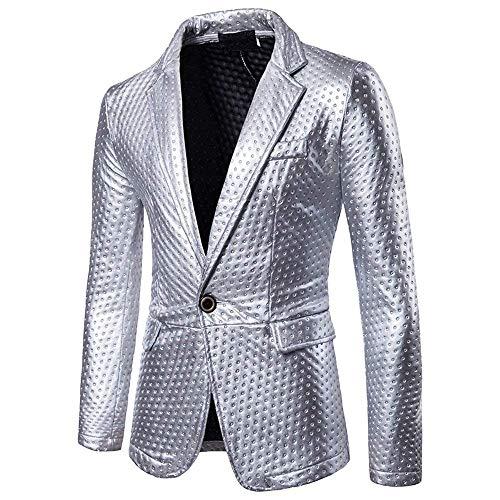 HaiDean Heren Blazer Kleurrijke bliksemende slim pak fit Sakko Modern casual mantel Party Outerwear pak jas 1 knoop goud