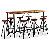 vidaXL Set Muebles de Bar 9 Piezas Patio Conjunto Casa Exterior Comedor Aire Libre Asientos Sillones Madera Reciclada y Cuero Auténtico
